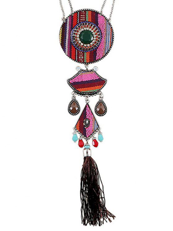 online Tassel Ethnic Style Pendant Necklace - PINK