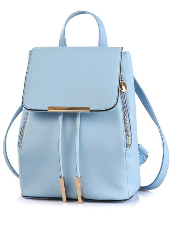 Sacoche en couleur unie avec Couvercle en métal - Bleu