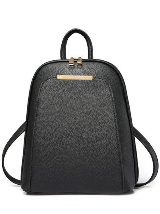 outfits Solid Color Metal Zips Satchel - BLACK