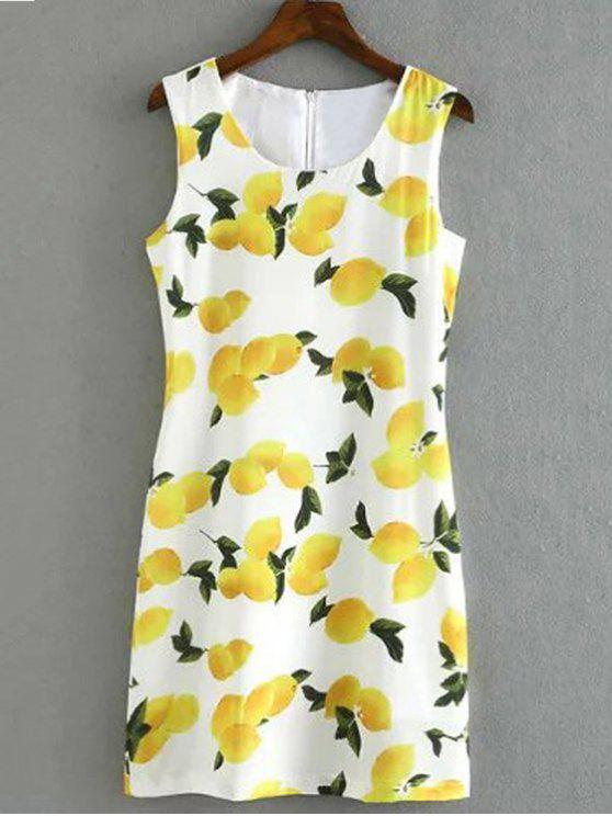 ladies Lemon Print Round Collar Sleeveless Dress - WHITE M