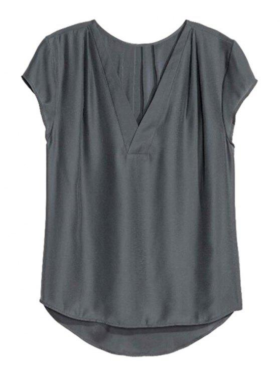 Allentato solido Colore Scollo a V manica corta T-shirt - Grigio Scuro S