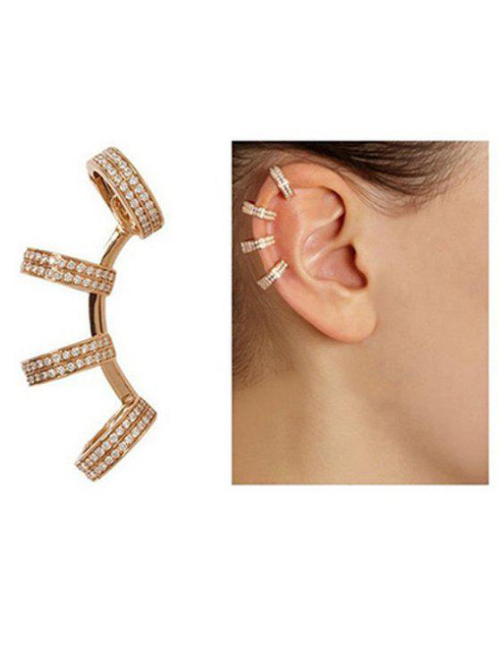 Las Rhinestones Circle Clip Earrings Golden