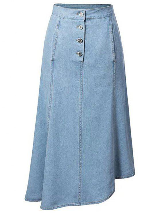 hip pockets asymmetrical denim skirt light blue skirts xl