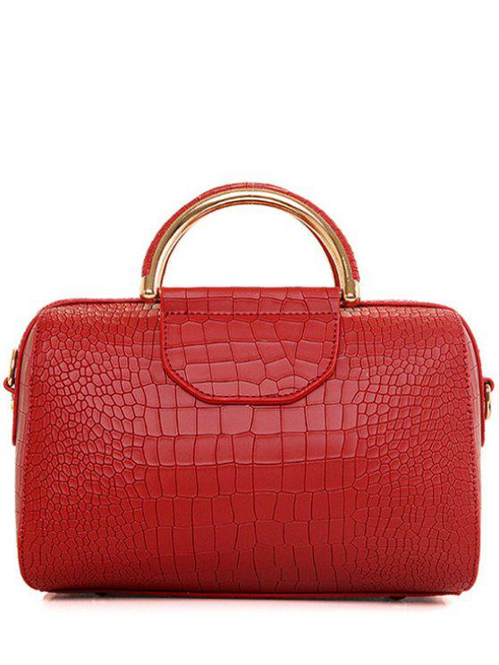 womens Crocodile Print Solid Color Tote Bag - RED