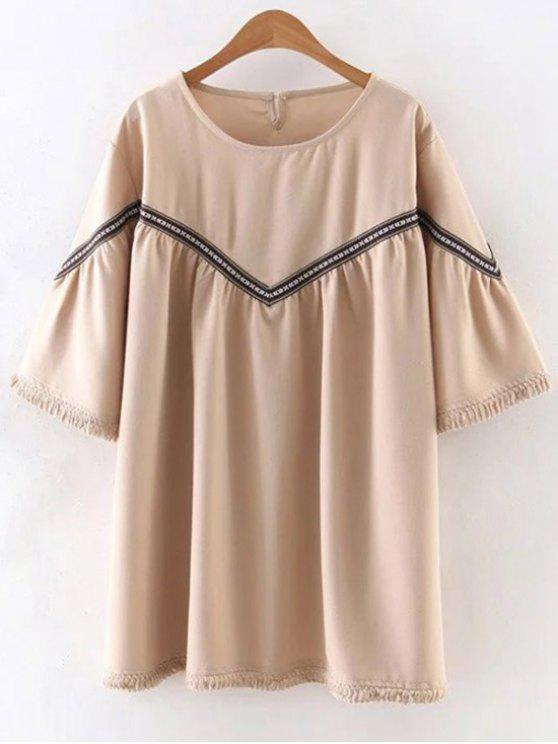 women Embroidered Tassels 3/4 Sleeve Tunic Dress - APRICOT L
