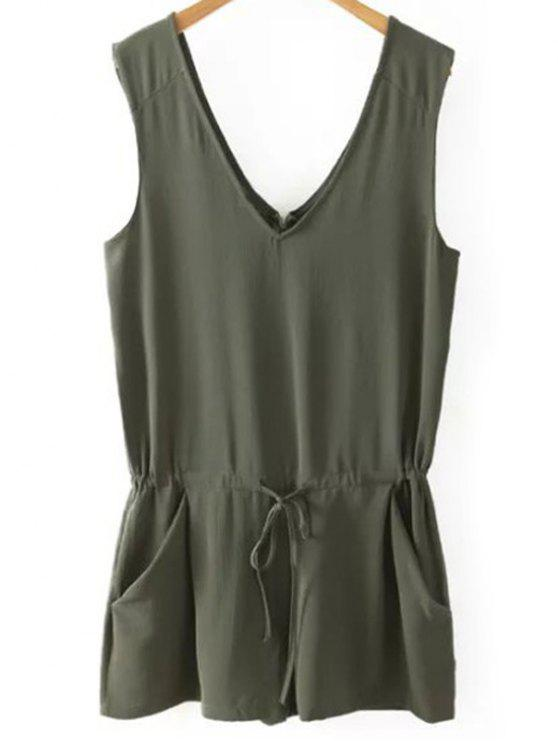 outfits Solid Color V Neck Sleeveless Romper - BLACKISH GREEN S