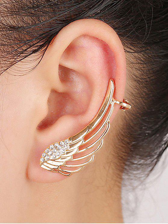 women's Rhinestones Hollow Out Wings Clip Earrings - GOLDEN