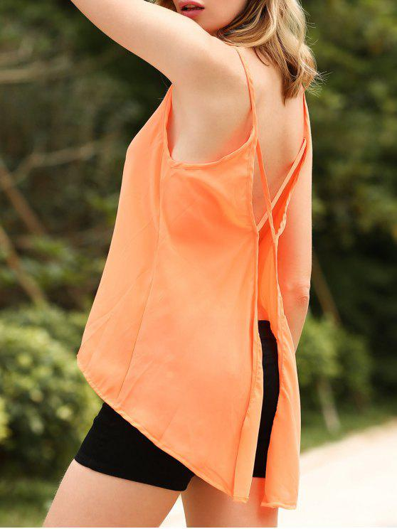 fashion Solid Color Cut Out Spaghetti Straps Sleeveless Tank Top - ORANGEPINK S