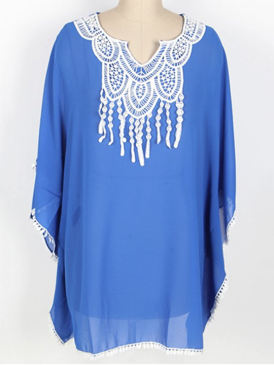 new Loose Lace Spliced Round Neck Bat-Wing Sleeve Cover Up - BLUE ONE SIZE(FIT SIZE XS TO M)