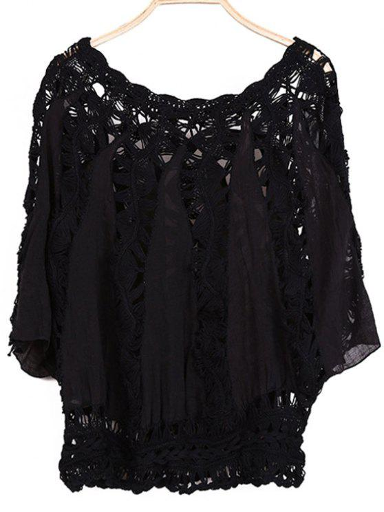 best Batwing Sleeve Crochet Blouse - BLACK ONE SIZE(FIT SIZE XS TO M)