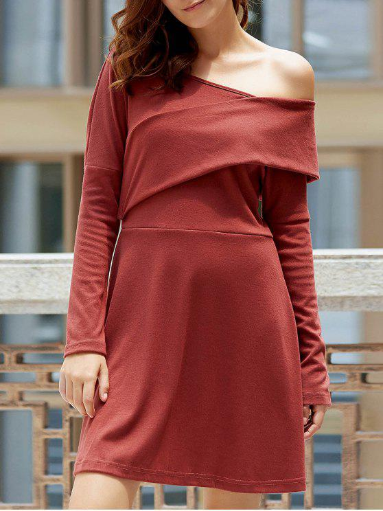 womens Cold Shoulder Long Sleeve Swingy Dress - LATERITE 2XL