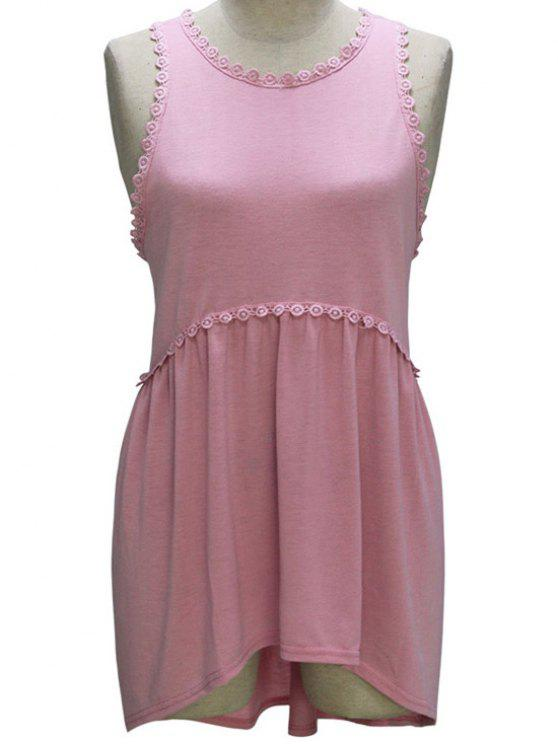 hot Loose Fitting Round Collar Sleeveless T-Shirt - PINK M