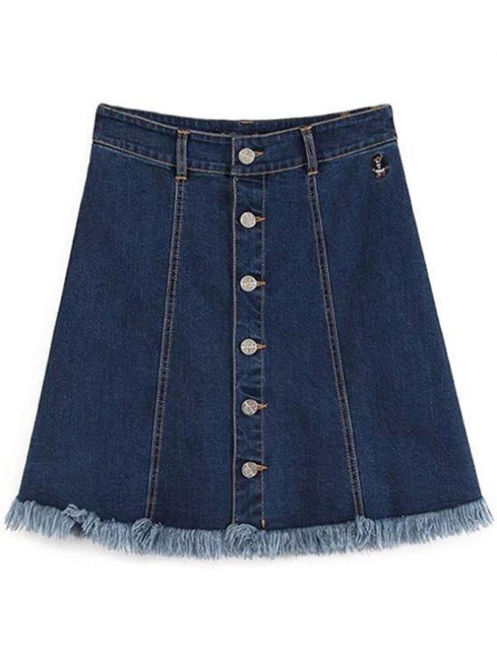 ladies Button-Front Denim Skirt - DEEP BLUE L