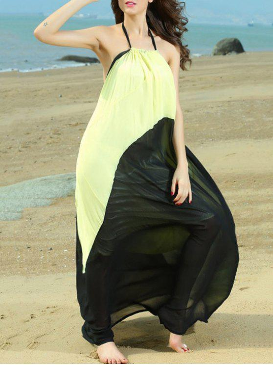 affordable Color Block Halterneck Maxi Dress - YELLOW AND BLACK ONE SIZE(FIT SIZE XS TO M)