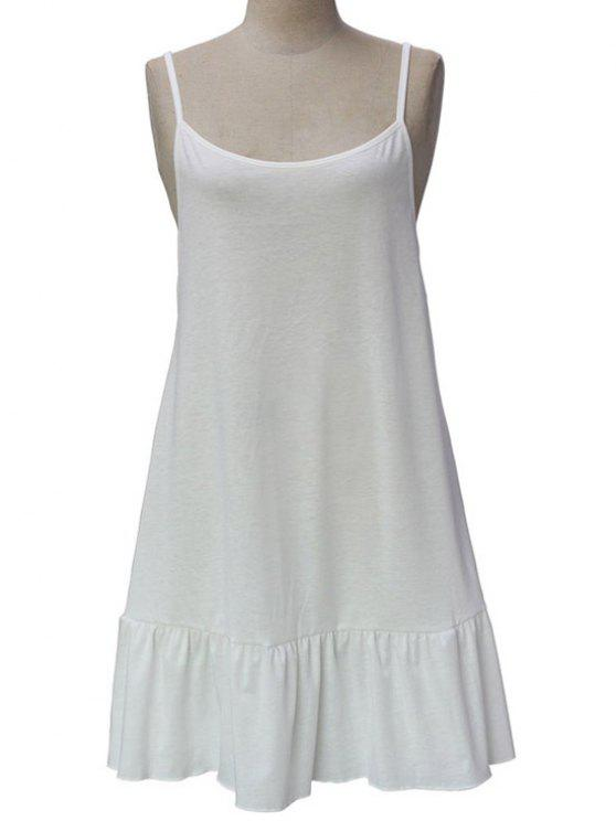 Robe couleur bretelles spaghetti dos ouvert solide - Blanc L