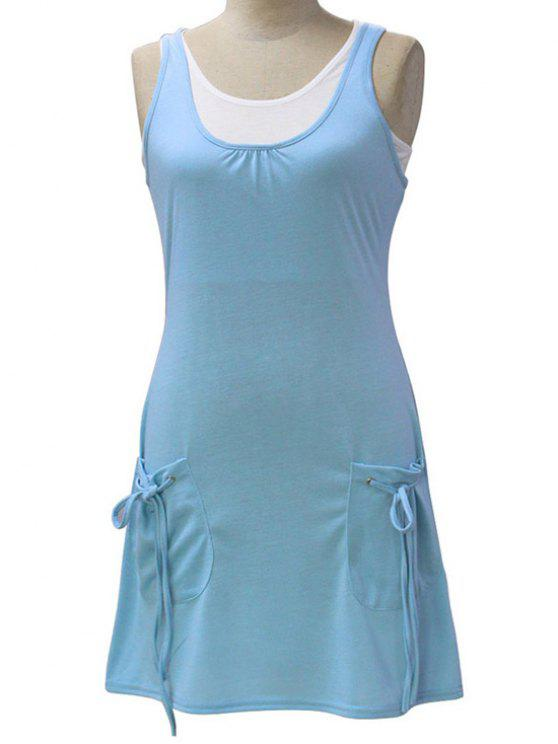 affordable White Crop Tank Top and Solid Color Dress Twinset - LIGHT BLUE M