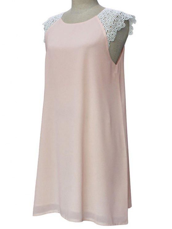 unique Sleeveless Round Collar Lace Spliced Dress - LIGHT PINK XL