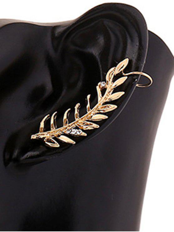 Boucles d'oreilles Clip embelli feuille de bijou faux strass - d'or