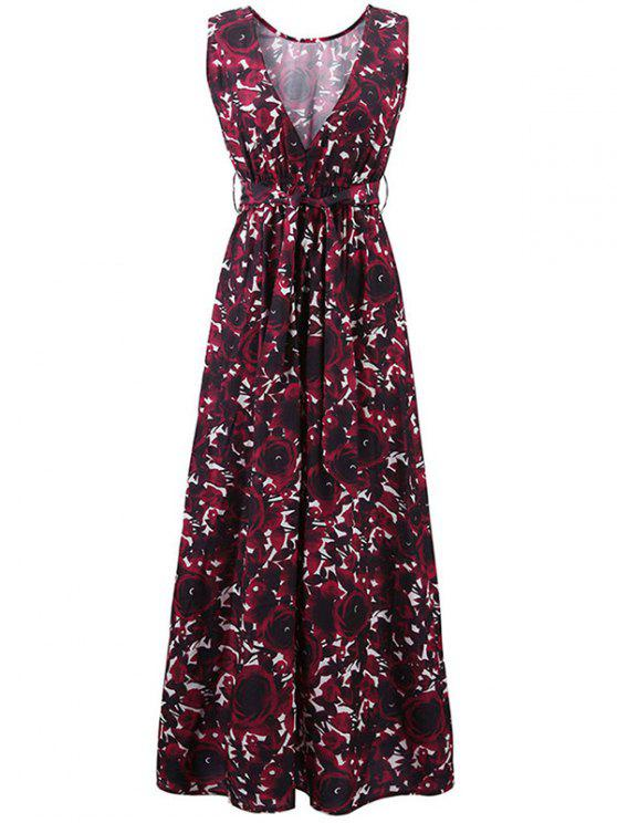 women Floral Print Round Collar Sleeveless Maxi Dress - CLARET M