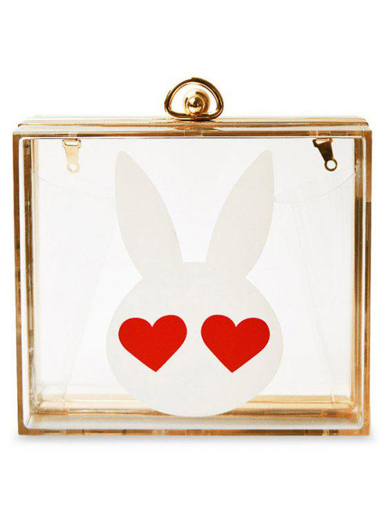 shop Transparent Metal Rabbit Print Evening Bag - TRANSPARENT
