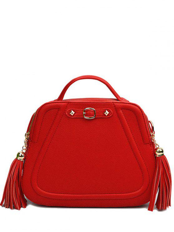 women Tassels Solid Color PU Leather Tote Bag - RED