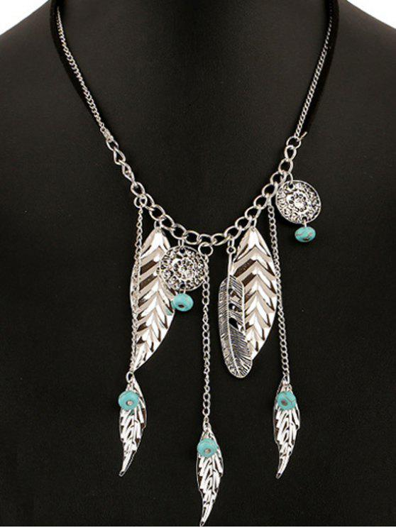 buy Feathers Bead Leaves Pendant Necklace - SILVER