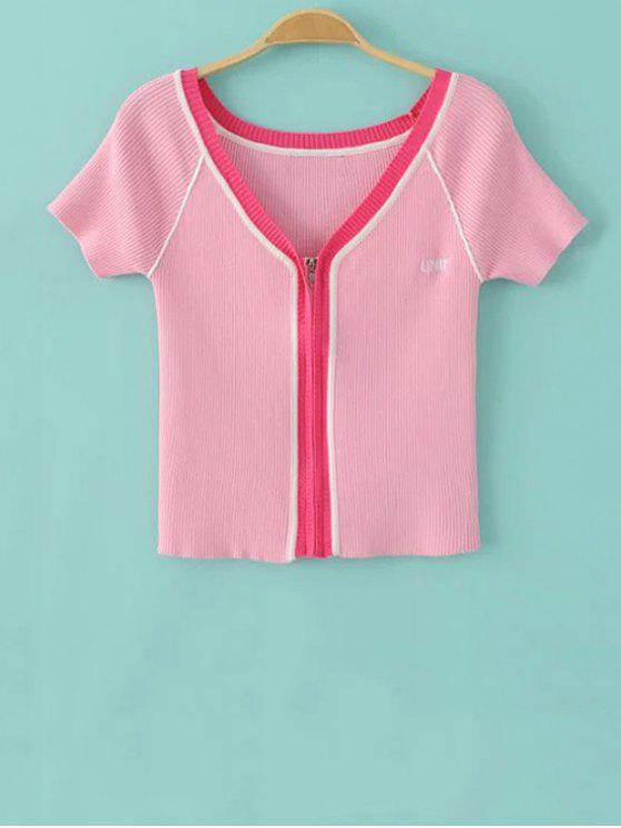lady Color Block V Neck Short Sleeve Cropped T-Shirt - PINK S