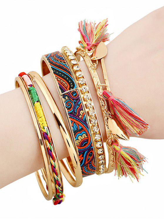 Ethnische Armbänder mit Strass und Troddel - Golden