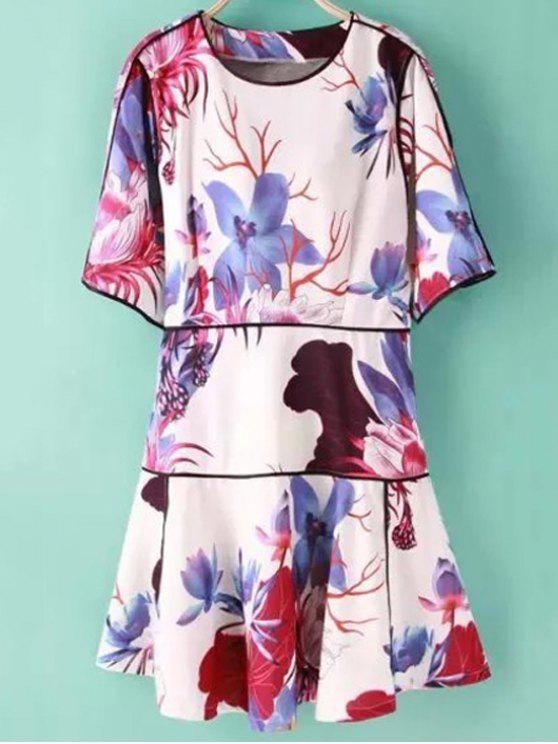 outfits Floral Print Jewel Neck Half Sleeve Dress - COLORMIX S