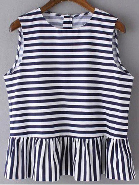 women Striped Jewel Neck Sleeveless Ruffles Spliced T-Shirt - DEEP BLUE M