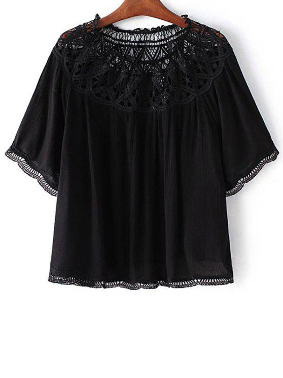 11dc77ba8fa Slash Neck Lace Trim Blouse