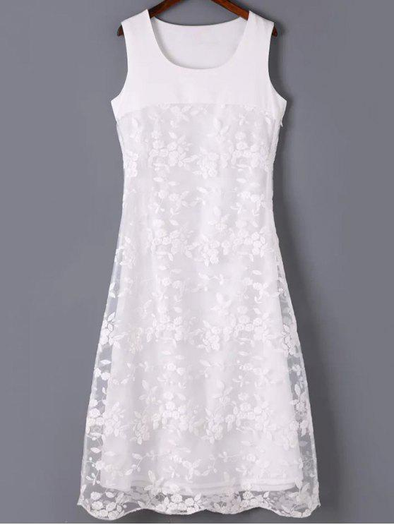 hot Organza Spliced Round Neck Sleeveless Embroidery Dress - WHITE M