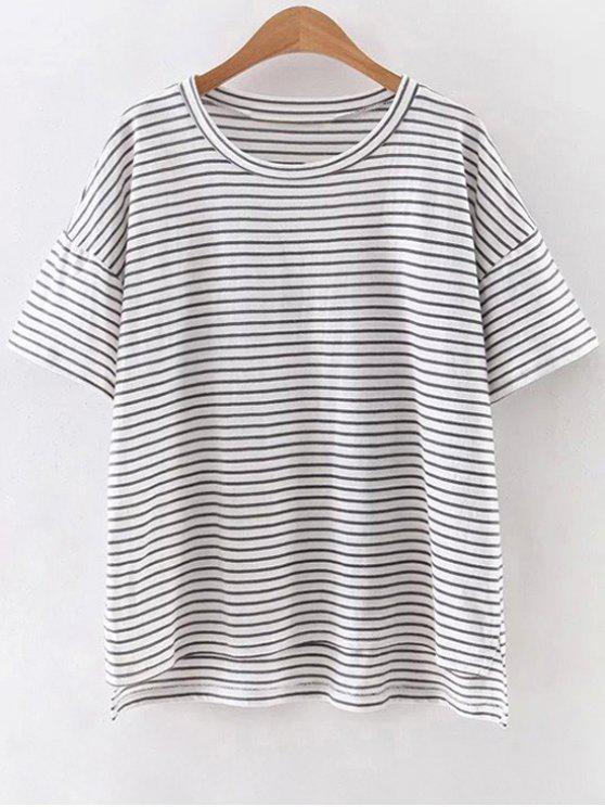 shops Striped Round Neck Half Sleeve High Low Hem T-Shirt - WHITE S