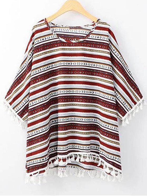 T-shirt à col rond et bas à manches 3/4 imprimé de motif ethnique - Rouge Taille Unique(S'adap