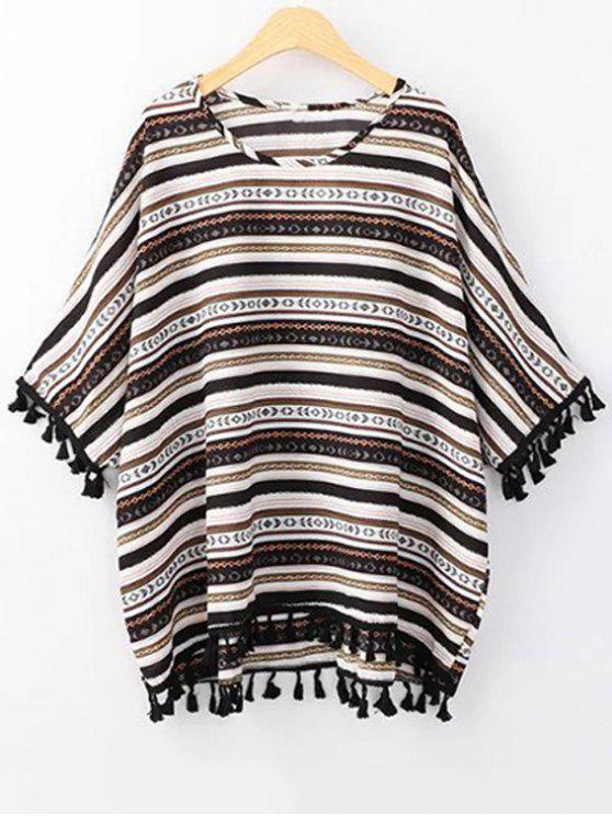 Ethnic Print con cuello redondo 3/4 camiseta de la manga - Negro Un tamaño(Montar tam