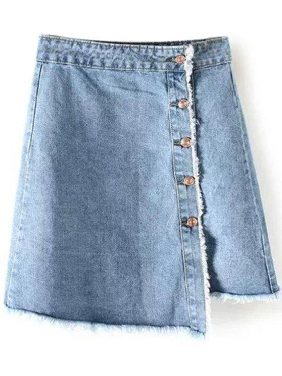 latest Frayed Hem Button Up Denim Skirt - LIGHT BLUE M