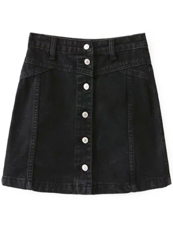 2019 A Line Button Up Denim Skirt In BLACK L  3edd563d1953