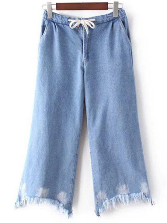 affordable Light Blue Denim Wide Leg Jeans - LIGHT BLUE 34
