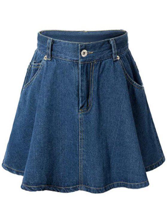 hot A-Line Pocket Design Mini Skirt - DEEP BLUE L