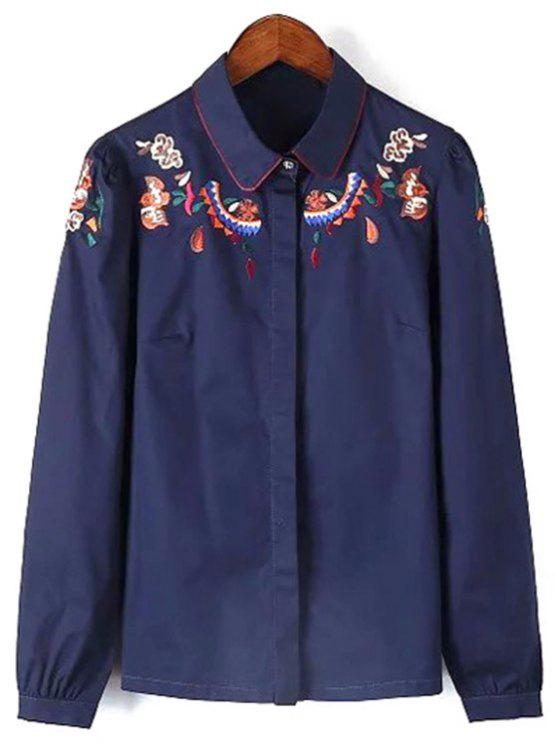 latest Long Sleeve Embroidered Shirt - CADETBLUE M