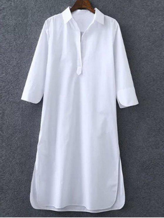 women's 3/4 Sleeve Side Slit Shirt Dress - WHITE S
