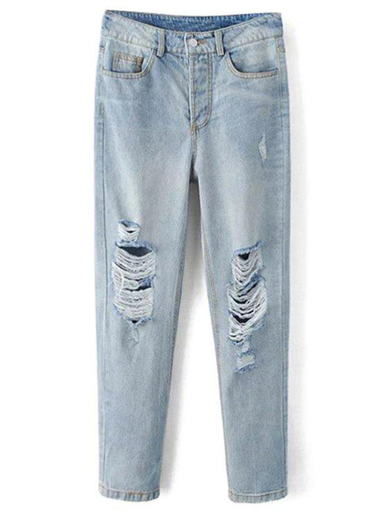 online Bleach Wash Ripped Jeans - LIGHT BLUE S