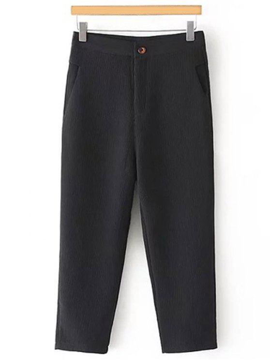 Plisadas rectas pernera del pantalón Capri - Negro M