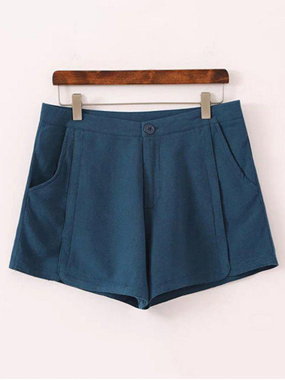 Puros pantalones cortos de color talle alto - Azul 38