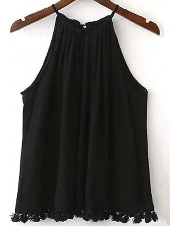 بلون هامش السباغيتي حزام تانك الأعلى - أسود M