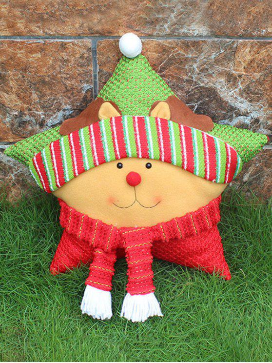 buy Merry Christmas Reindeer Star Pillow - YELLOW