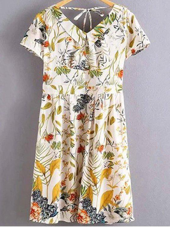 affordable Floral Print Flat Collar Short Sleeve Back Crossed Dress - WHITE L