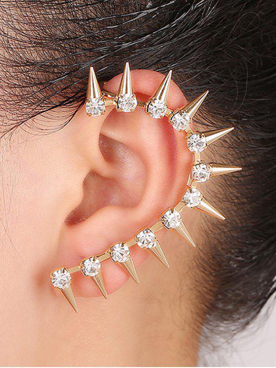 Diamantes de imitación de Sharp Teeth Pendiente Clip - Dorado