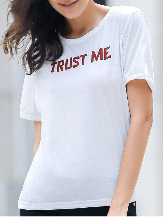new Letter Print White T-Shirt - WHITE M
