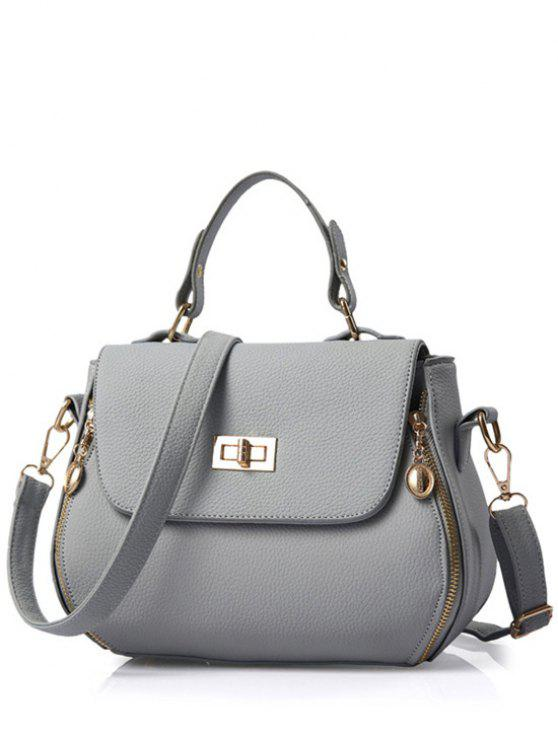 hot Hasp Solid Color PU Leather Tote Bag - GRAY